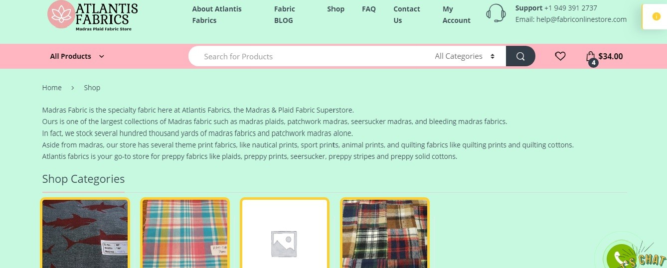 Fabric Store Online, for fabrics like madras plaid, theme prints, patchwork madras and linen fabric