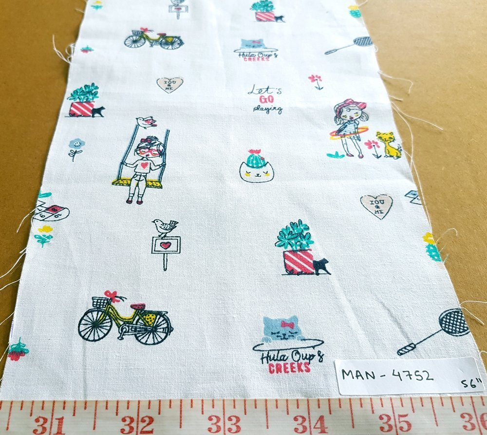 Cotton print fabric in children's playtime print with swings, cats, bicycles, badminton rackets