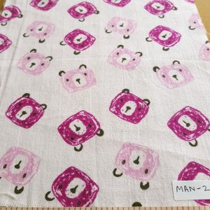 Cotton flannel fabric, in pink bear face geometric print