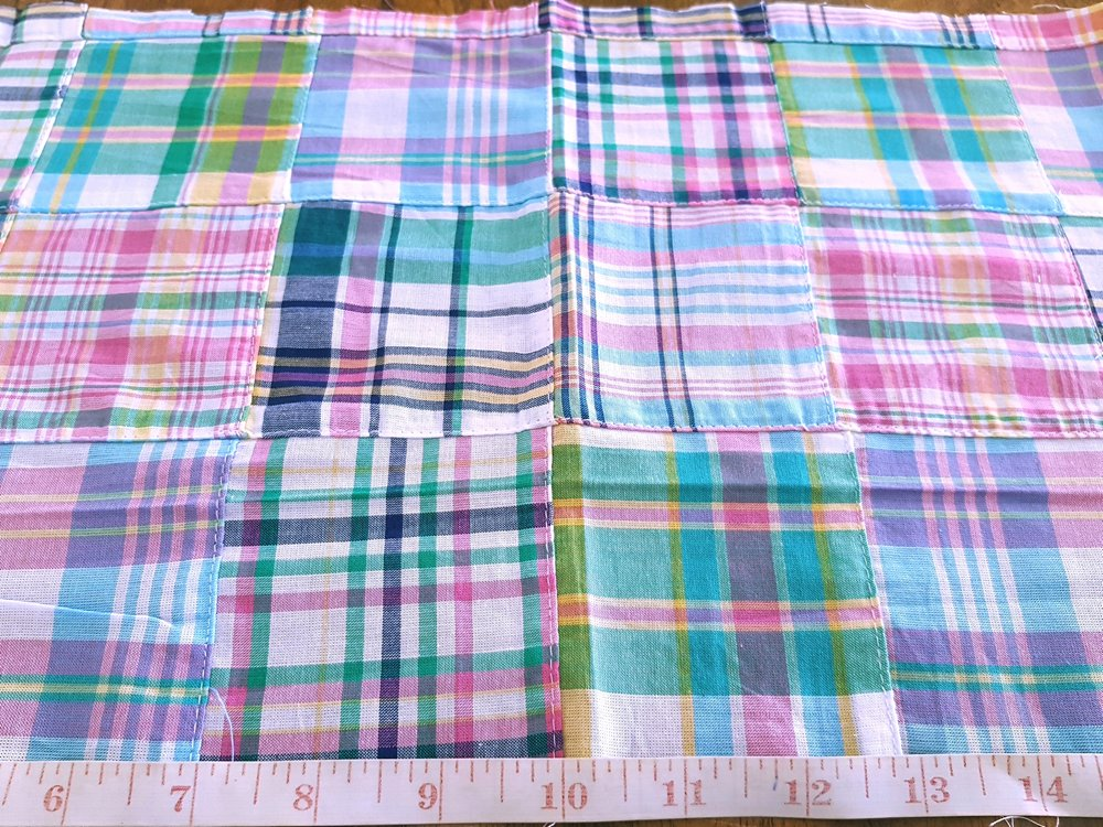 Patchwork Madras or patchwork plaid fabric, for preppy children's clothing and madras shirts