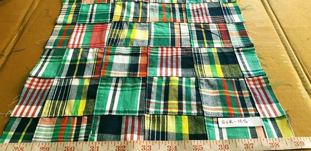 Patchwork madras fabric, patchwork plaid, preppy madras plaid sewn to form patchwork fabric