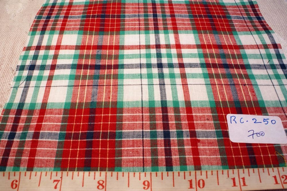 Red, green, white and blue plaid fabric