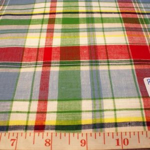 madras fabric in red, green, light blue, yellow and white plaids