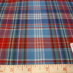 Madras Fabric - plaids of blue, red, green, black and white