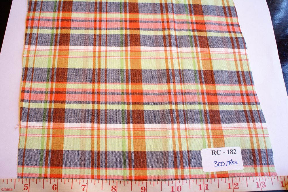 Madras Fabric - madras plaid in green, rust and orange color