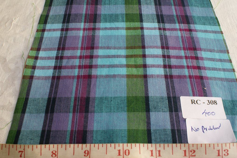 madras plaid fabric in blue green and fuschia
