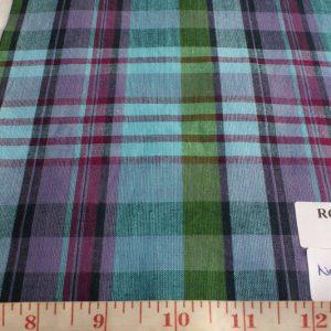 madras plaid fabric in blue green and fuschia
