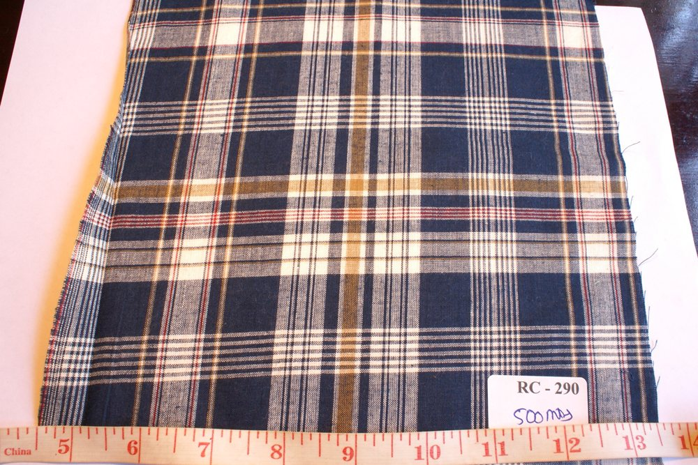 Royal Blue, mustard, white and maroon plaid madras fabric