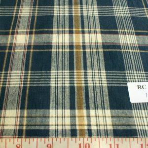 Vintage blue, cream, mustard and maroon plaid madras fabric