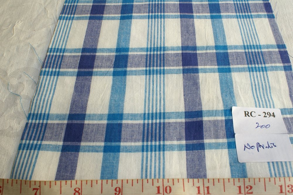 Check fabric in Royal blue, indigo blue and white color plaids