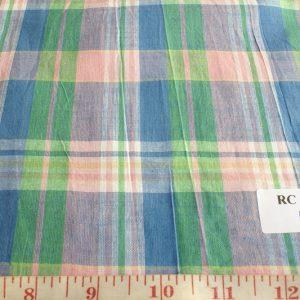 Vintage madras plaid fabric in preppy pastel colors