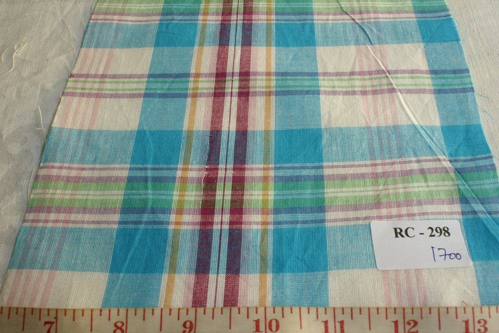 Light blue, maroon, pink ,light green and white plaid madras