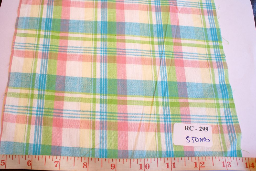 Madras fabric in Pastel green, pastel pink, light blue and white plaids combination