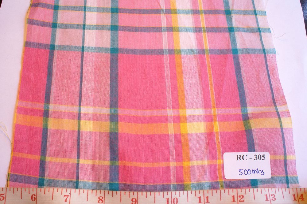 Madras Fabric in pink, yellow, blue and white plaid