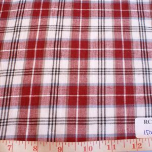 Madras plaid cotton fabric in red, white and black colors, for shirts, children's clothing, menswear, women's preppy skirts and dresses