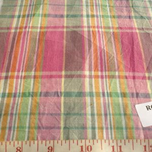 Vintage madras plaid fabric in vintage green, pink, yellow and white plaids