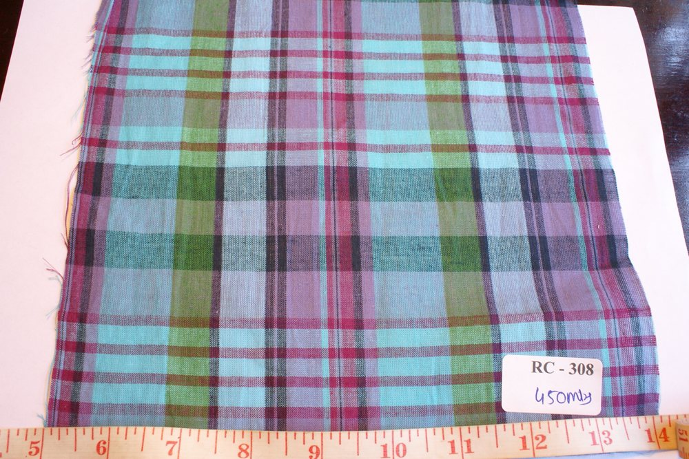Madras check in blue, purple, green and black plaids
