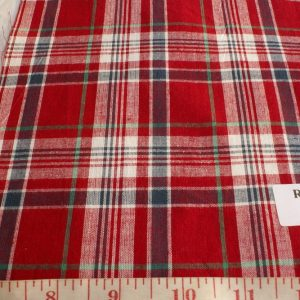 Madras fabric in red, blue, white and green color plaids
