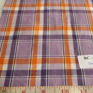 Madras Fabric in lavender, orange, purple and white plaids