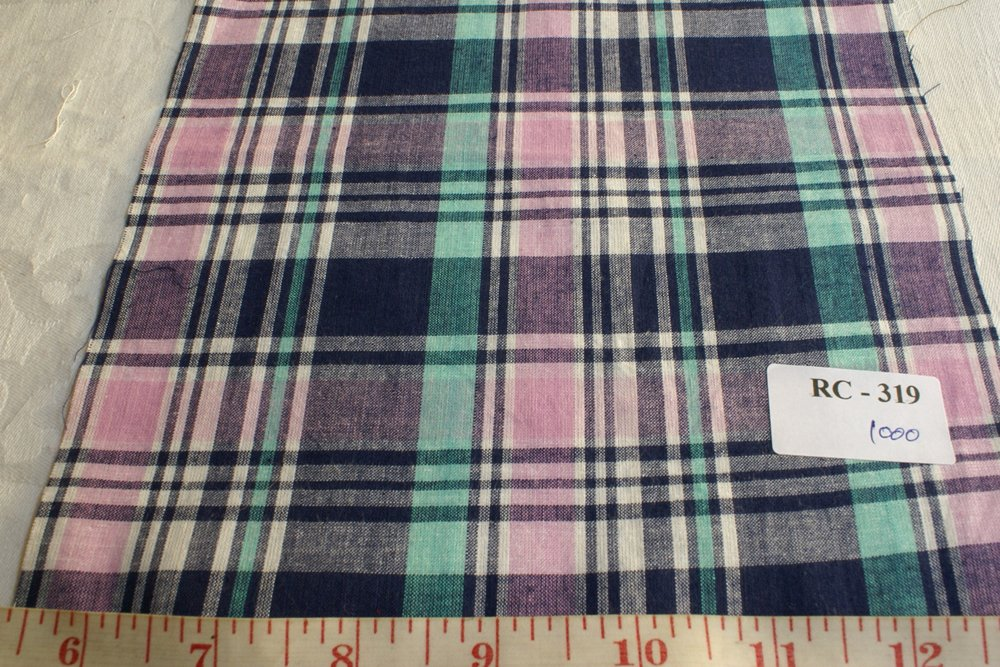 Preppy madras fabric in blue, lavender and mint green colors
