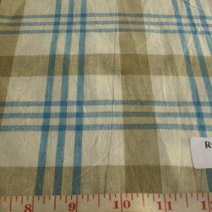 Madras Fabric in Fawn, dark fawn and indigo blue plaids