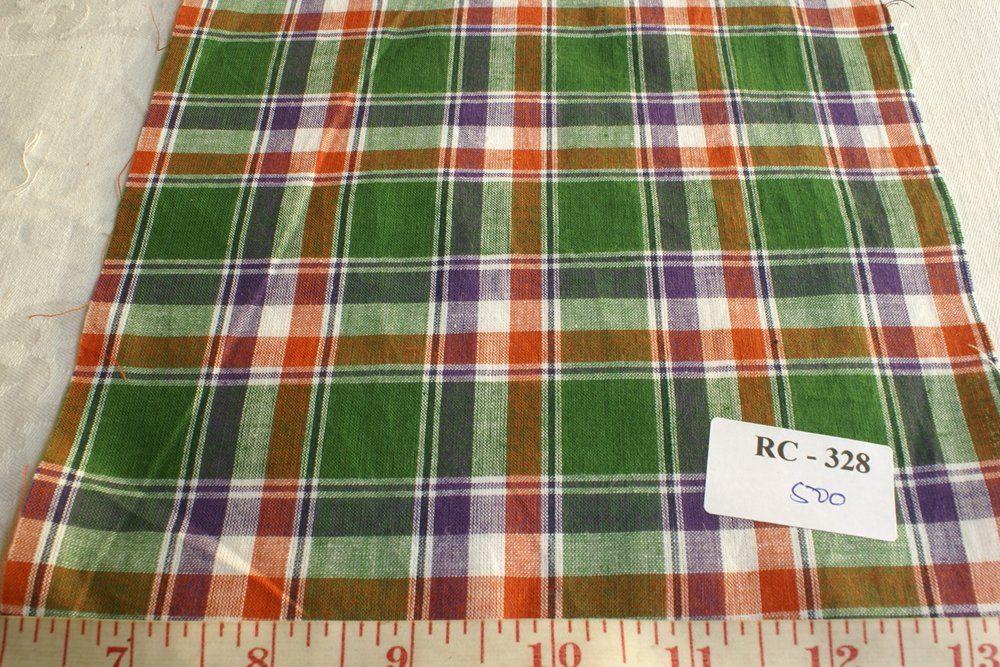 Madras Fabric in Green, purple, orange and white plaids