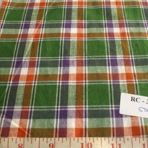 Madras Fabric in Green, purple, orange and white plaids