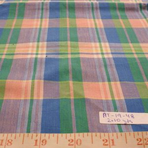 Madras fabric - plaid madras in yellow, brown, blue and white color plaids of Indian cotton suitable for shirts, menswear and children's apparel