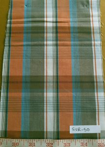 Madras plaid fabric in vintage colors