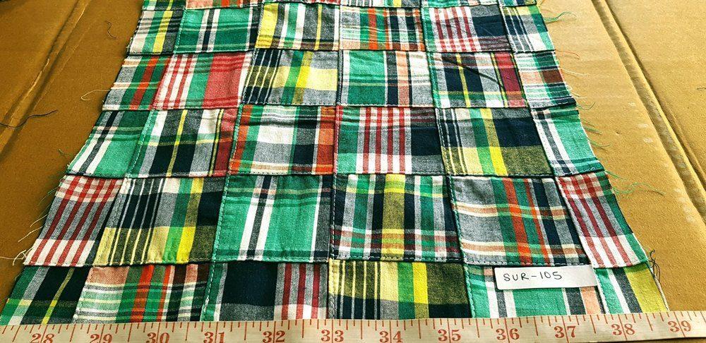 Patchwork madras fabric in multi color plaids