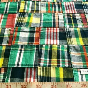 Patchwork madras fabric in multi color plaids