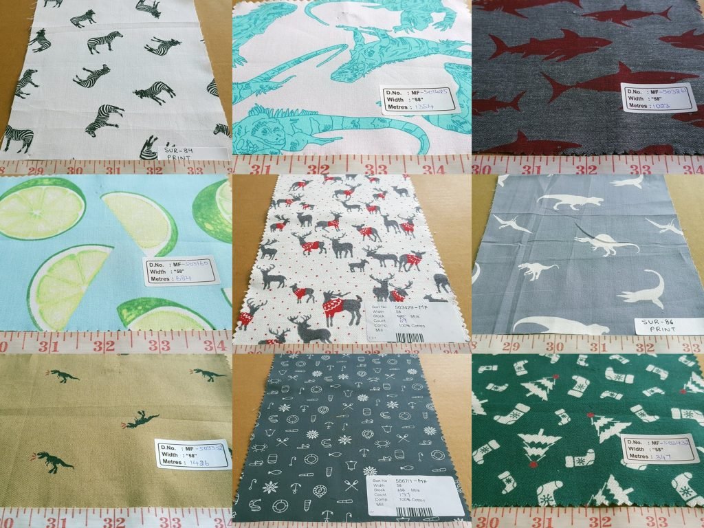 Theme print fabric, printed cotton with theme print of animals, flowers, christmas theme, nautical prints