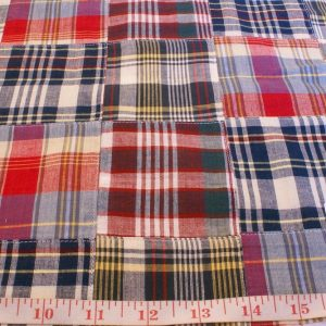 Patchwork Madras Plaid Fabric for sewing preppy clothing, preppy craft projects, preppy accessories, handmade clothing, madras bedding or children's decor.