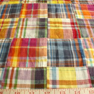 Patch Madras Fabric - plaid madras squares sewn together, for girl's clothing, smocked clothing, monogrammed apparel, handmade handbags and headbands
