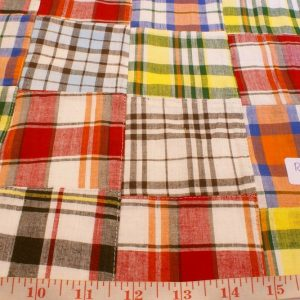 Patchwork Plaid Fabric for sewing preppy clothing, preppy craft projects, preppy accessories, ideal for handmade clothing and dog jackets & dog bandanas.