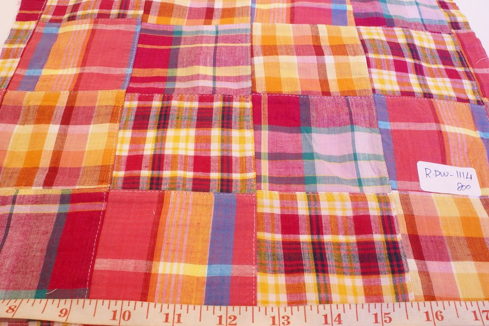 Patchwork Madras Fabric - plaid madras squares sewn together, for girl's clothing, smocked clothing, monogramed apparel, handbags, tote bags and headbands
