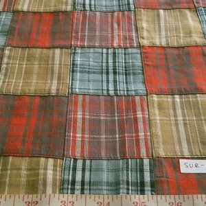 Patchwork Madras Fabric made of various Indian cotton madras plaids sewn together, suitable for preppy shirts, shorts, menswear