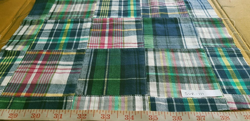 Patchwork Madras Fabric made of various Indian cotton madras plaids sewn together, suitable for preppy shirts, shorts