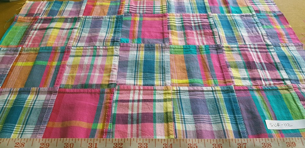 Patchwork Madras Fabric made of various Indian cotton madras plaids sewn together