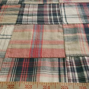 Patchwork Madras or patchwork plaid Fabric made for ties, bowties, belts & handmade goods.