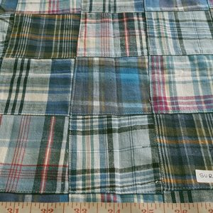 Preppy Patchwork Madras Fabric of various Indian cotton madras plaids sewn together, suitable for preppy shirts, shorts, menswear and children's apparel
