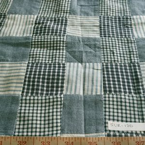 Patchwork Madras Fabric made of various madras plaids sewn together in small patches, for children's apparel, pet clothing, ties, bowties and accessories.