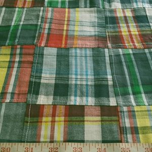Patchwork Madras Fabric - plaid madras squares sewn together, for girl's clothing, smocked clothing, monogrammed apparel, handmade handbags and headbands