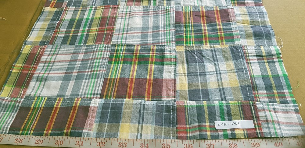 Vintage Patchwork Madras Fabric in preppy colors for vintage clothing, like men's shirts, madras sport coats, jackets, classic clothing and vintage apparel.