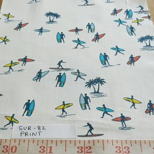"Surfers & Surfboards"" Nautical theme print fabric in cotton, perfect for beach shirts, beach shorts, childrens apparel, holiday and resort clothing."