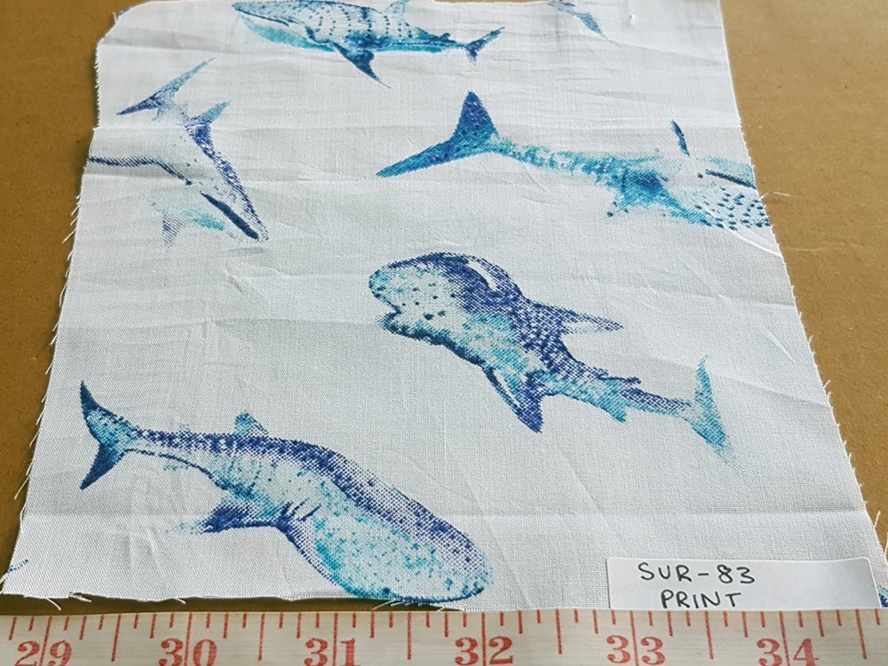 Whales Nautical Theme Print Fabric with Blue Whales, for beach shirts, holiday and resort clothing, children's garments like boys shirts and girls dresses