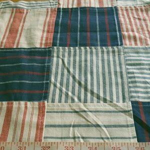 Patchwork Stripe Fabric with preppy stripes sewn into Patchwork, for stripe shorts, patchwork shorts, patchwork sport coats and jackets, striped ties