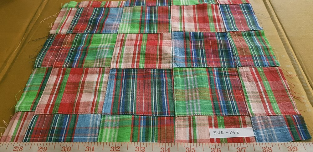 Patchwork Plaid Madras Fabric made of various Indian cotton madras plaids sewn together, suitable for preppy shirts, shorts, menswear and children's apparel.