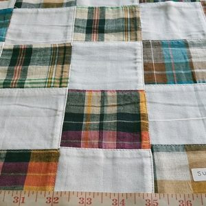 Patch Plaid Madras Fabric with plaids sewn for preppy menswear, patchwork coats, patchwork shirts, madras shorts, plaid skirts, ties and bowties