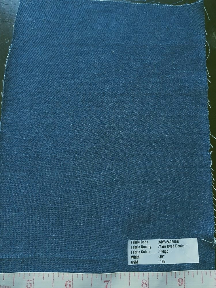 Vegetable Natural Dyed Organic Cotton Denim Fabric in Indigo blue, ideal for organic clothing, denim shirts, denimm shorts, denim skirts & denim jackets